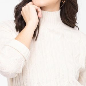 Cable Knit Mock Neck Sweater Ivory